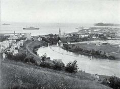 Photo 049: View of Harbor at Trondhjem [Trondheim, Norway] with the S.S. Blücher of the Hamburg American Line visible in the background [circa 1908].