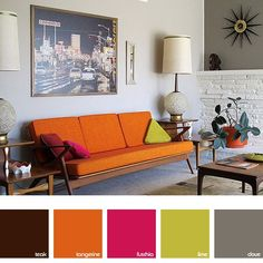 'Mid-century Modern brights' living room with orange, pink and lime highlights