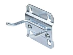 1 In. Double Rod 30 Degree Bend 3/16 In. Dia. Zinc Plated Steel Pegboard Hook for LocBoard, 5 Pack