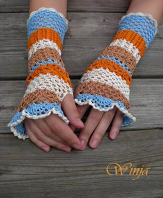 Boho cotton crochet fingerless gloves multi-colored by OnGoodLuck