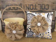 Flower Girl Basket Ring Bearer Pillow Set Shabby Chic Wedding Rustic Wedding Burlap Gr