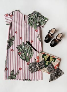 Styled by Caroline, our Cactus Dress, Rita Heels, and Woven Fringe Clutch Cactus, Clothes For Women, Lady, Heels, Dresses, Style, Prickly Pear Cactus, Outerwear Women, Gowns
