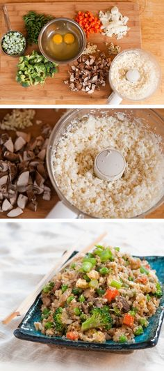 Cauliflower Fried Rice ~ Use cauliflower in place of rice!  #lowcarb #healthy
