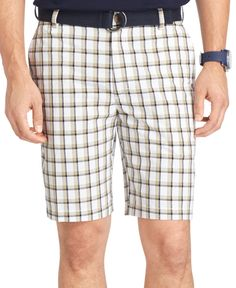 Izod Belted Flat Front Plaid Shorts