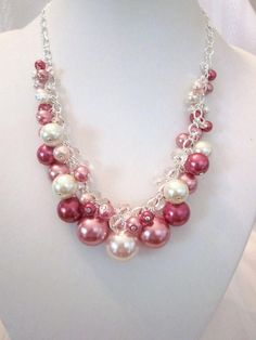 Rose Pearl and Crystal Cluster Necklace. Craft ideas from LC.Pandahall.com