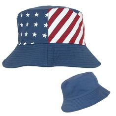 Wear this American Flag reversible bucket hat for 4th of July, vacations or all year long. Experience sun and wind protection under the 2.5 inch brim. Pair with favorite patriotic outfit to complete your look. The cotton material provides a durable bucket hat for men and women to enjoy of all ages. One size fits most up to 23 inches.