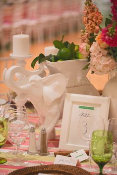 """I love to decorate. I love to entertain. Needless to say, this wedding was the perfect opportunity for me to showcase two of my favorite hobbies!... The darling elephant planters came from #ZGallerie"""