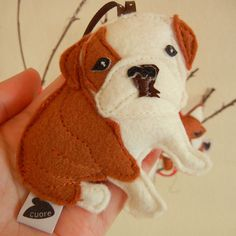 Boris the English Bulldog Dog Wool Felt Applique by Cuore on Etsy