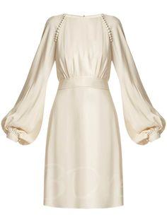Apricot Lace up Women's Lantern Sleeve Dress classy outfits classy outfits ideas. White Dress With Sleeves, Lace Dress, Dresses With Sleeves, Simple Dresses, Beautiful Dresses, Elegantes Outfit Frau, Women's Dresses, Fashion Dresses, Dresses Online