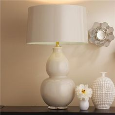 """Shades of light """"pop color modern ceramic table lamp"""" in Taupe with Sot Aqua Lining"""