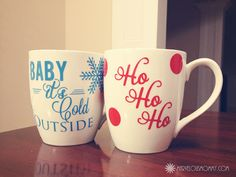 Trendy Diy Christmas Mugs Designs Coffee Cups Ideas Diy Christmas Mugs, Christmas Vinyl, Christmas Coffee, Noel Christmas, Christmas Themes, Holiday Crafts, Christmas Print, Homemade Christmas, Christmas Stuff
