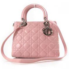 CHRISTIAN DIOR Lambskin Cannage Lady Dior Pink.