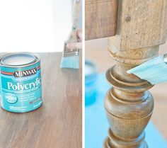 The Farmhouse Table: Stain and Finish minwax special walnut layered with weathered oak.