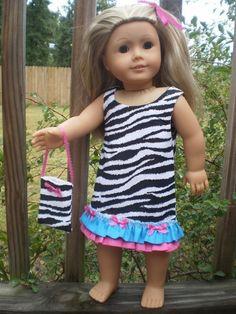 Zebra print ruffled dress with purse