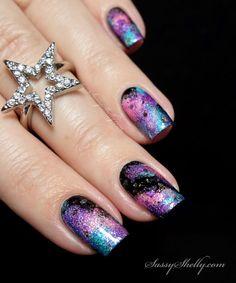 Galaxy Nail Art Tutorial - sparkling space nails with Cupcake Polish holos | Sassy Shelly