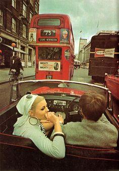 Swinging London, driving an MG. Vintage London, Old London, London Bus, London Street, London City, Cultura Pop, The Wombats, Living In London, Swinging London