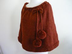 Knit Capelet Shoulder Wrap Poncho Spice by pegsyarncreations, $50.00
