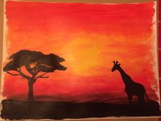 Acrylic painting Giraffe and tree silhouette against sunset