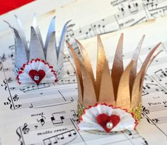 Valentines Fit for a King or Queen ~ Mini Paper Crowns made from tp tubes and other scrap from around the house.