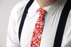Mens Tie TC238 Red Pink Floral Fiesta Red necktie with flowers