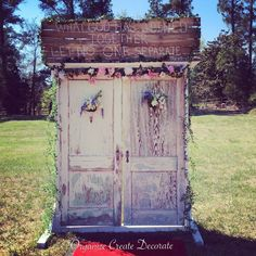 Wonderful, antique double-door entry for outside weddings. Love the chippy paint! [Ava for rent, too]