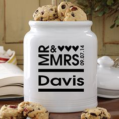 Mr. and Mrs. Personalized Cookie Jar - great wedding gift..
