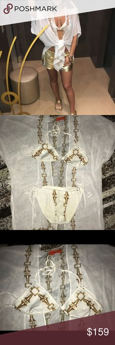 Clover canyon swim gold chain bikini kimono shorts All worn once Genuine leather shorts no size tags but fit like a small send me a offer! Clover Canyon Swim