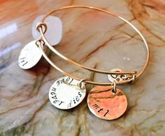 Gold Tone Charm BangleChooseYour Metal by BlueCornerCreasigns