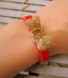 Beadwoven red cuff bracelet with bow charm and by ViaKalina