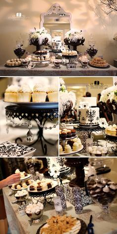 Belle Amour Dessert Buffet, Dessert Bars, Dessert Stand, Cupcake Stands, Gatsby Wedding, Gatsby Party, Party Party, Desert Table, Candy Table