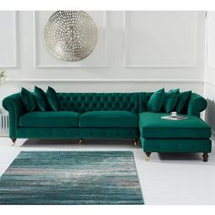 Emilia Right Hand Facing Chesterfield Corner Chaise Sofa Green Velvet Couches Living Room, Living Room Green, Sofa Set, Green Sofa Living, Corner Sofa Living Room, Chesterfield Sofa Living Room, Sofa Design, Green Sofa Living Room, Living Room Sofa