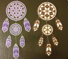 Today I did another one in Brown and White. This is soooooo fun!! Love to do dream catcher!! I would love if YOU want to follows me and my Dreams #dream #dreamcatcher #dröm #drömfångare #brown #white #purple #grey #perler #beads #pärlor #fun #pärlplattor