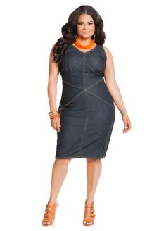 72544cf3e9e Ashley Stewart - V-Neck Multiseam Denim Dress More Studded ...