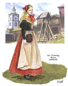 Illustration of a lady's bunad from Røros in Sør-Trøndelag, Norway. (it's where Christmas lives. Folk Costume, Costume Dress, Costumes, Santa Lucia Day, Bridal Crown, My Heritage, Unique Dresses, Historical Clothing, Fashion History