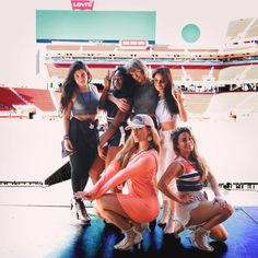 taylorswift:  Sound check with @fifthharmony right after they taught me their choreo and before they lent me one of their outfits so we could all be twinzies.