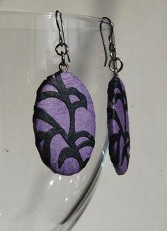 Purple Paper Earrings Dangle Mauve Earrings  Leaf by HanjiNaty