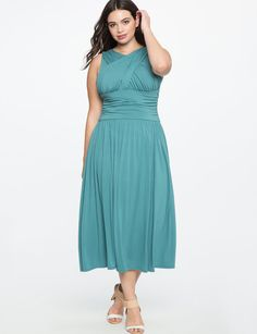 Plus Size Ruched Cross Front Dress