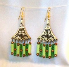 Green and Brown Beaded Chandelier Earrings with by Ricksiconics, $26.00