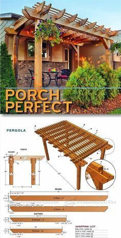 Porch Pergola Plans - Outdoor Plans and Projects | http://WoodArchivist.com #pergolaplansdiy