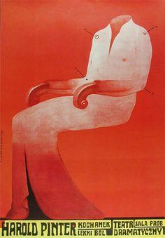 Franciszek Starowieyski Harold Pinter, The Lover Kochanek Lekki Bol Polish Theater Poster    Two Plays: The Lover & A Slight Ache     1970