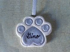 Silver Dog or Cat Paw Print Salt Dough Ornament Bread Dough Decoration Everything Else Handmade Hand Painted By CookieCutterCuties