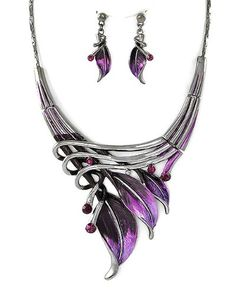 Silvertone Purple Leaf Statement Necklace and Earrings Set Fashion Jewelry