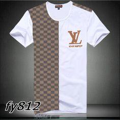 Louis Vuitton Mens Short T-Shirts White Brown $56.99  www.gomalllv.com