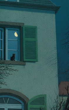 Quint Buchholz (German, b. Stolberg, Germany) -On The Windowsill At Night (Nachts vor dem Fenster), 1995 Mixed Media Japon Illustration, Gravure Illustration, Pastel Wallpaper, Nocturne, Window Sill, Aesthetic Pictures, Studio Ghibli, Aesthetic Wallpapers, Cat Art