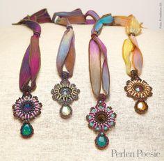 Arabesque Pendant - Lisa Kan   Projects   Perlen Poesie 26. Colors, ribbon, those drops!