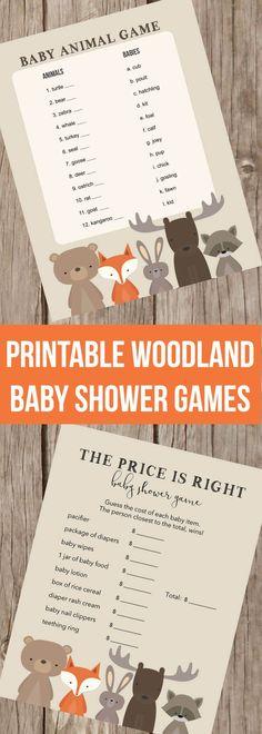 Printable Woodland Baby Shower Games! The Price Is Right, Left Right Game, Baby Shower Bingo, Baby Animal Game, Diaper Raffle Tickets, Books For Baby Cards!