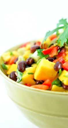 Amazingly Delicious Mango Black Bean Salad.  Perfect to Serve as a Salad or a Wonderful Dip!  Not Only Delicious but Healthy as Well!!!