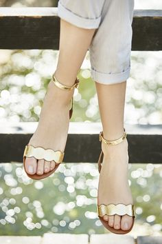 Gold scalloped flat sandals with ankle strap | Sole Society Odette