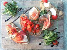 Perfect food * antipasti * bruschette * tomatoes * prosciutto * rucolla * funghi * balsamico