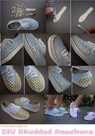 Studded sneakers. Easy but cool idea. Wanna try this ASAP just to dress up an old pair of shoes..